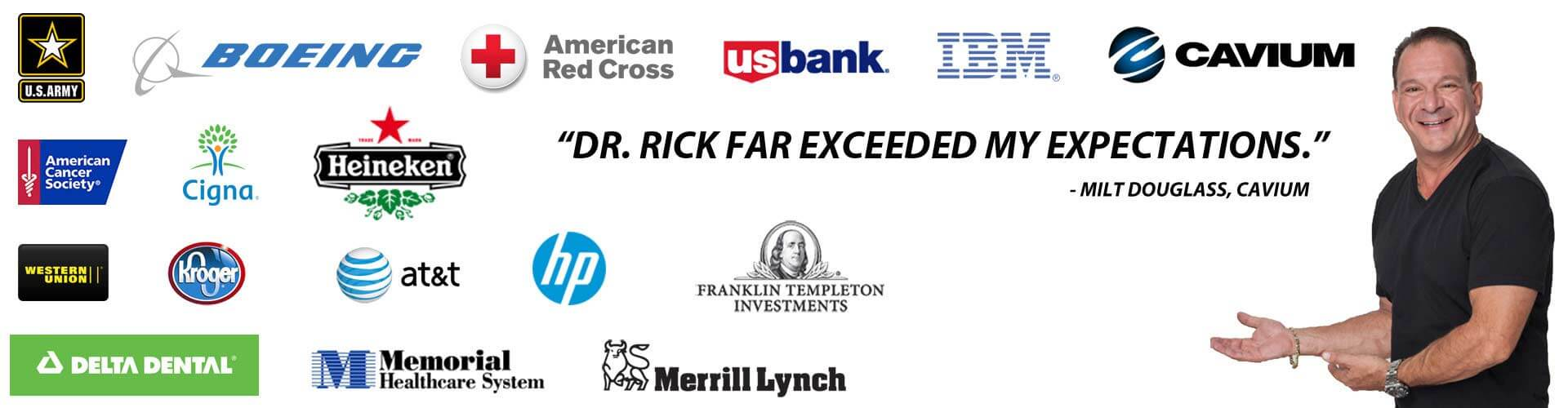 dr rick has been a guest speaker at some of the leading companies globally