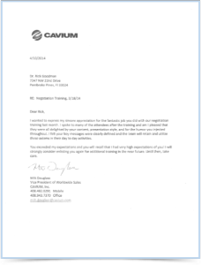 Cavium Letter for Dr. Rick Goodman