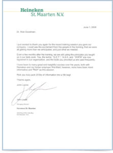 Heineken Letter for Dr. Rick Goodman