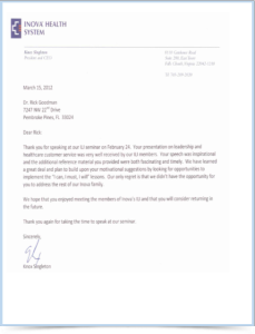 Inova Health Letter for Dr. Rick Goodman